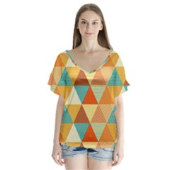 Golden Dots And Triangles Pattern Flutter Sleeve Top