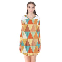 Golden Dots And Triangles Pattern Flare Dress