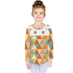 Golden Dots And Triangles Pattern Kids  Long Sleeve Tee