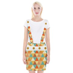 Golden Dots And Triangles Pattern Suspender Skirt