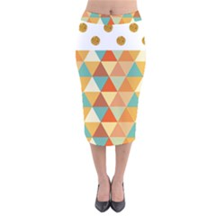 Golden Dots And Triangles Pattern Velvet Midi Pencil Skirt