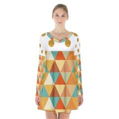 Golden Dots And Triangles Pattern Long Sleeve Velvet V Neck Dress