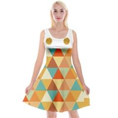 Golden Dots And Triangles Pattern Reversible Velvet Sleeveless Dress