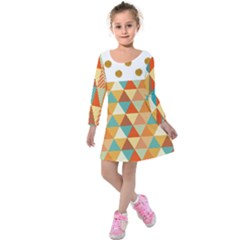 Golden Dots And Triangles Pattern Kids  Long Sleeve Velvet Dress