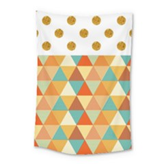 Golden Dots And Triangles Pattern Small Tapestry