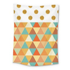 Golden Dots And Triangles Pattern Medium Tapestry