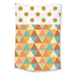 Golden Dots And Triangles Pattern Large Tapestry