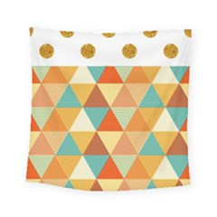 Golden Dots And Triangles Pattern Square Tapestry (small)