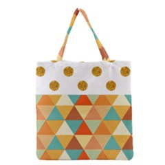 GOLDEN DOTS AND TRIANGLES PATERN Grocery Tote Bag