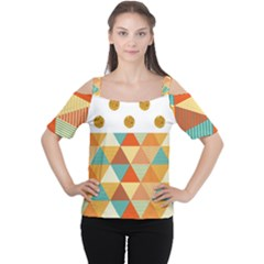 Golden Dots And Triangles Patern Women s Cutout Shoulder Tee