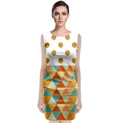 Golden Dots And Triangles Patern Classic Sleeveless Midi Dress