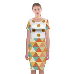 Golden Dots And Triangles Patern Classic Short Sleeve Midi Dress