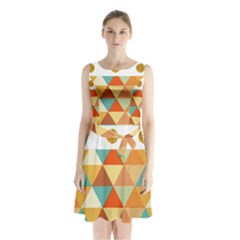 Golden Dots And Triangles Patern Sleeveless Chiffon Waist Tie Dress