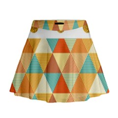 Golden Dots And Triangles Patern Mini Flare Skirt