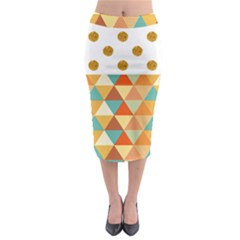 Golden Dots And Triangles Patern Midi Pencil Skirt