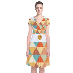Golden Dots And Triangles Patern Short Sleeve Front Wrap Dress