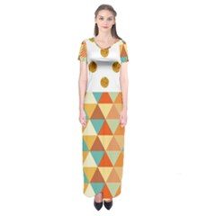 Golden Dots And Triangles Patern Short Sleeve Maxi Dress