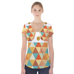 Golden Dots And Triangles Patern Short Sleeve Front Detail Top