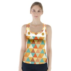 Golden Dots And Triangles Patern Racer Back Sports Top