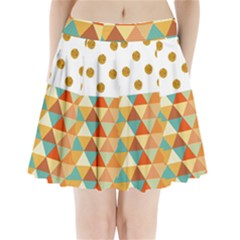 Golden Dots And Triangles Patern Pleated Mini Skirt