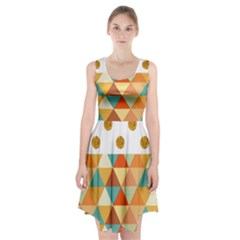 Golden Dots And Triangles Patern Racerback Midi Dress
