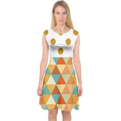 Golden Dots And Triangles Patern Capsleeve Midi Dress