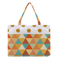 Golden Dots And Triangles Patern Medium Tote Bag