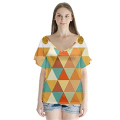 Golden Dots And Triangles Patern Flutter Sleeve Top