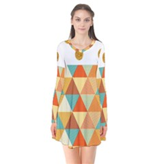 Golden Dots And Triangles Patern Flare Dress