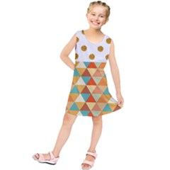 Golden Dots And Triangles Patern Kids  Tunic Dress