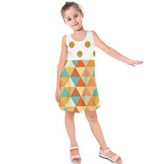 Golden Dots And Triangles Patern Kids  Sleeveless Dress