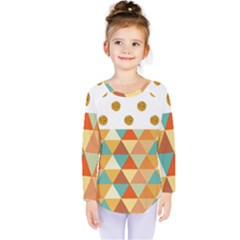 Golden Dots And Triangles Patern Kids  Long Sleeve Tee