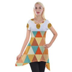 Golden Dots And Triangles Patern Short Sleeve Side Drop Tunic