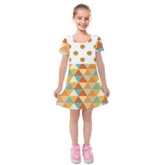 Golden Dots And Triangles Patern Kids  Short Sleeve Velvet Dress