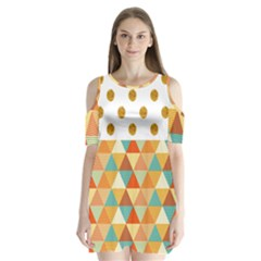 Golden Dots And Triangles Patern Shoulder Cutout Velvet  One Piece