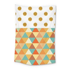 Golden Dots And Triangles Patern Small Tapestry