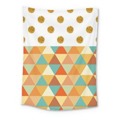 Golden Dots And Triangles Patern Medium Tapestry