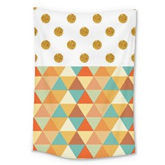Golden Dots And Triangles Patern Large Tapestry
