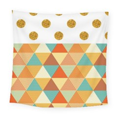 Golden Dots And Triangles Patern Square Tapestry (large)