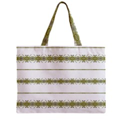 Ethnic Floral Stripes Zipper Mini Tote Bag