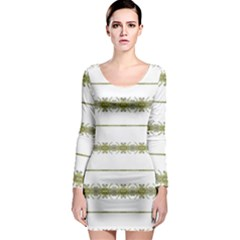 Ethnic Floral Stripes Long Sleeve Bodycon Dress