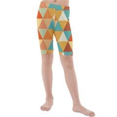 Triangles Pattern  Kids  Mid Length Swim Shorts