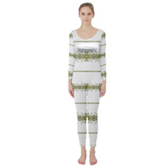 Ethnic Floral Stripes Long Sleeve Catsuit