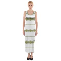 Ethnic Floral Stripes Fitted Maxi Dress