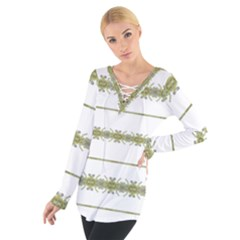 Ethnic Floral Stripes Women s Tie Up Tee