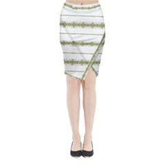 Ethnic Floral Stripes Midi Wrap Pencil Skirt