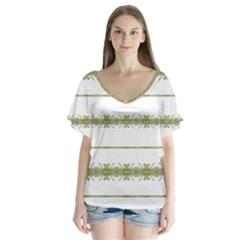 Ethnic Floral Stripes Flutter Sleeve Top