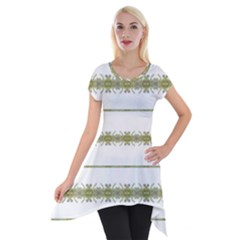 Ethnic Floral Stripes Short Sleeve Side Drop Tunic