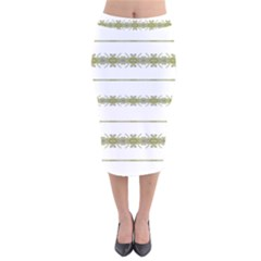 Ethnic Floral Stripes Velvet Midi Pencil Skirt