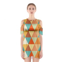 Triangles Pattern  Shoulder Cutout One Piece